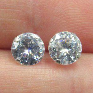 10K Gold Bright Clear CZ Diamond Earrings